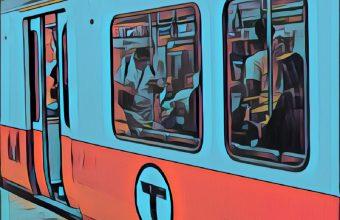 A picture of a Boston subway train