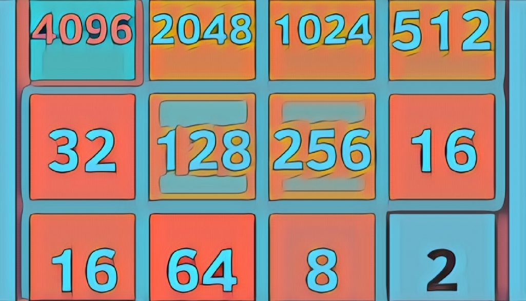 Part of a 2048 grid