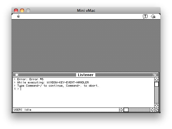 A screenshot of Mini vMac showing the Agrippa debugger window