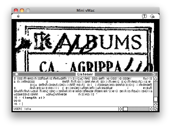 Screenshot of the junk printed out at the end of the Agrippa's execution.