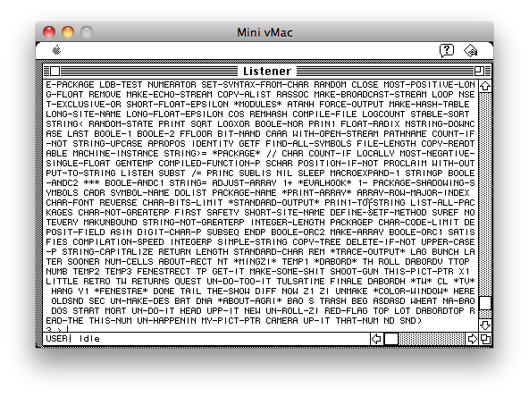 A screenshot of the Agrippa debugger showing all of the built-in symbols