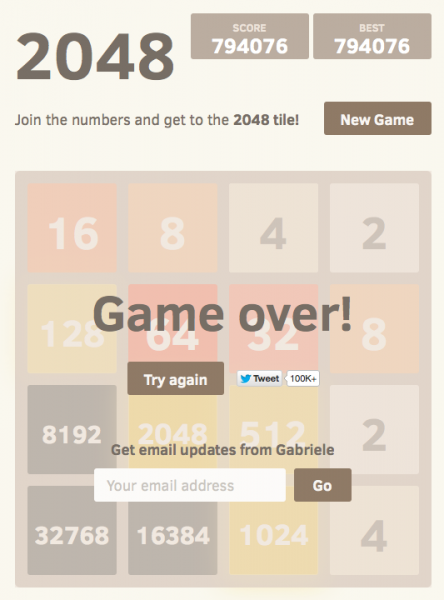 Final game-over 2048 board, with a score of 794076, showing a 32k tile, 16k tile and 8k tile.