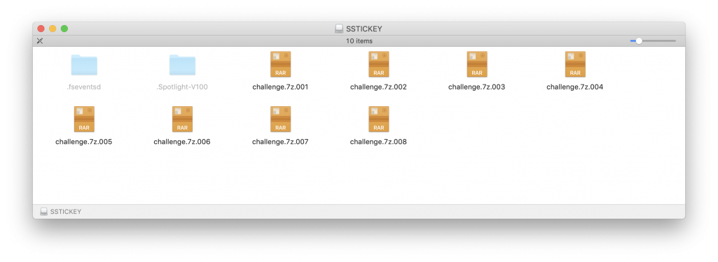 The final out-all.img mounted and viewed in the Finder, showing the eight files on the flash drive