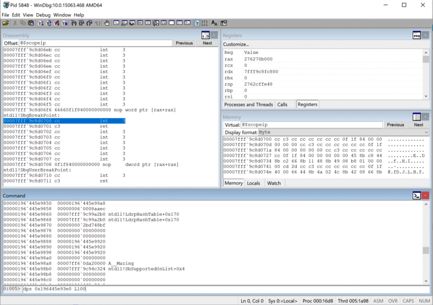 WinDBG, showing the pair of recognizable LdrpHashTable pointers less than 0x100 QWORDs after the leaked heap address